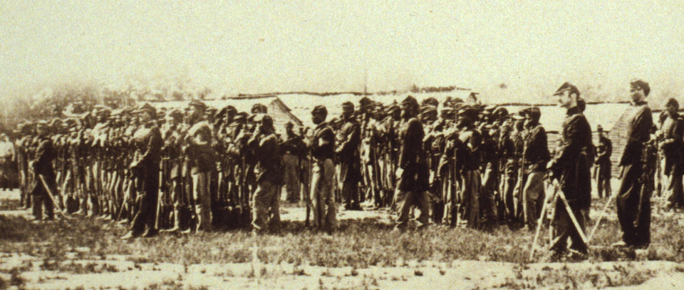 Organized from refugee slaves in Washington, D.C., the 1st USCT Infantry was a veteran of numerous counter-insurgency expeditions launched from Hampton Roads when -- along with several companies from the 10th USCT raised in Hampton Roads -- it defeated a superior Confederate force in the May 24, 1864 Battle of Wilson's Wharf in  Charles City.