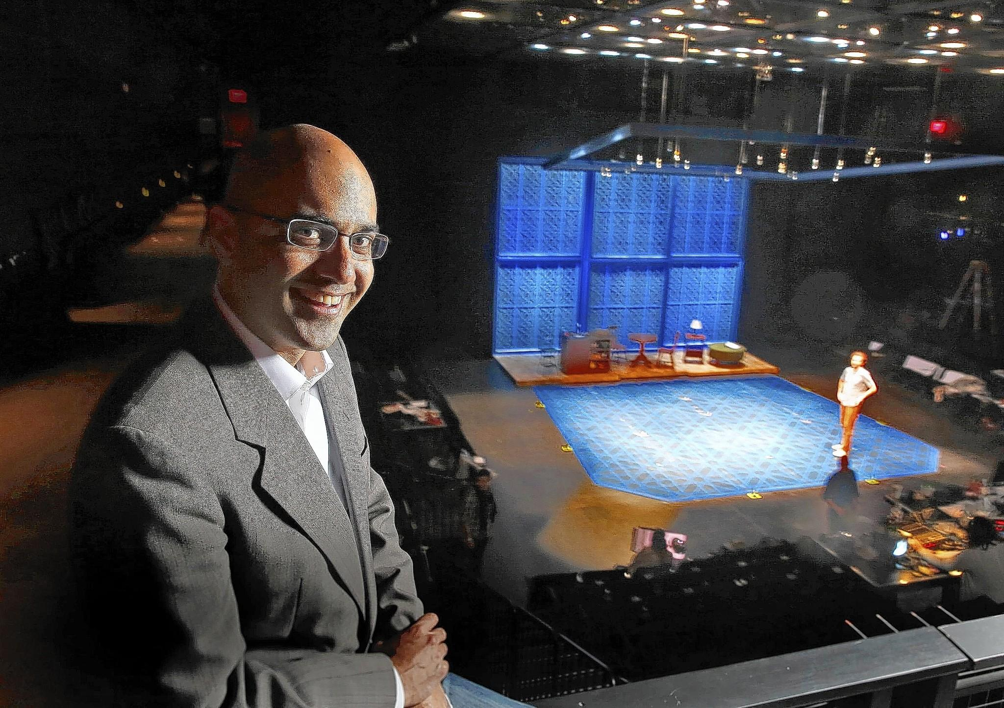 """Author and Pulitzer Prize-winning playwright Ayad Akhtar pauses during rehearsal of his new play """"The Who and The What"""" at the La Jolla Playhouse."""