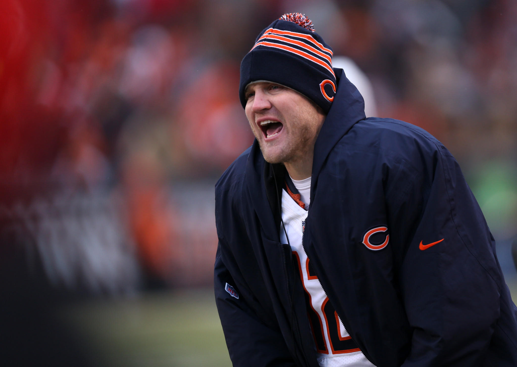 Bears quarterback Josh McCown cheers on his teammates from the sidelines during a game against the Cleveland Browns.