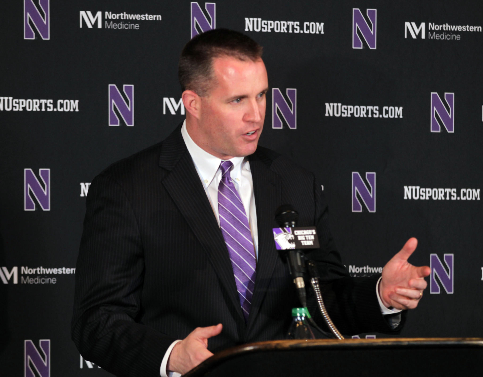 Northwestern football coach Pat Fitzgerald announces his signing class on Feb 5.