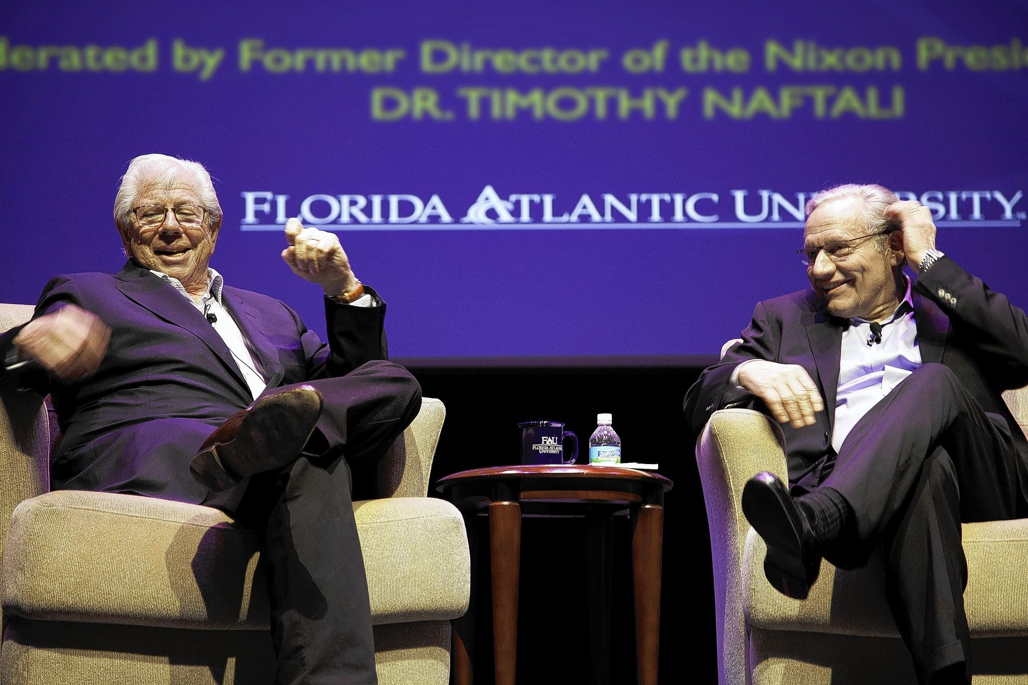 "Carl Bernstein (left) and Bob Woodward, whose reporting on the Watergate scandal for the ""Washington Post"" led to the resignation of President Richard Nixon in 1974, spoke at Florida Atlantic University in Boca Raton."