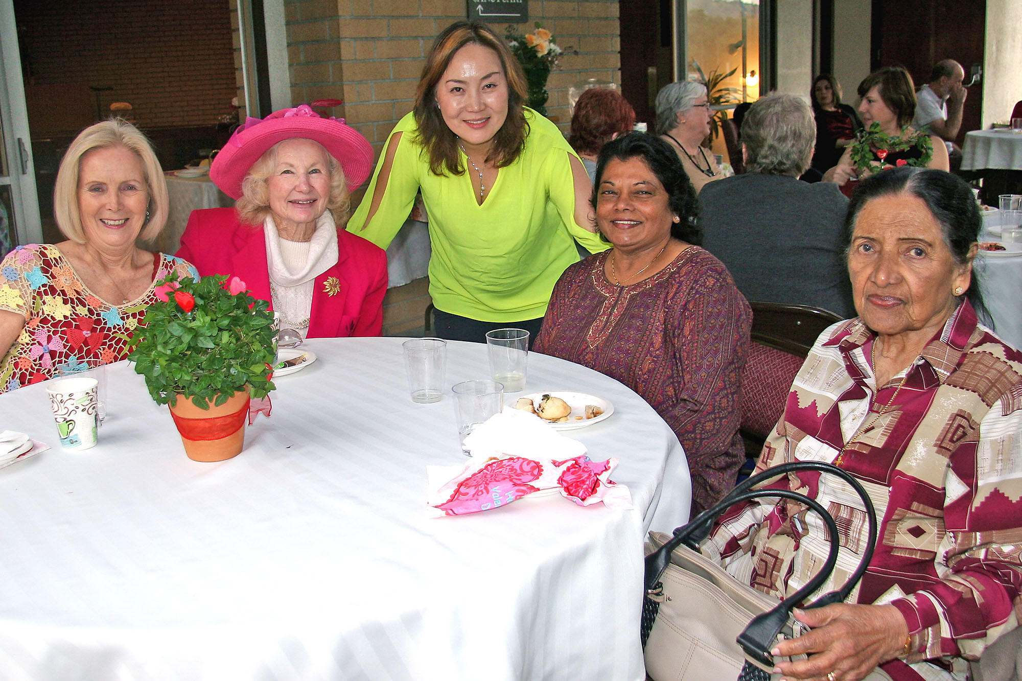 Ramona Teichert, Betty Cady, Pastor Elaine Cho, Esther Ariathurai and Ranji Ariathurai were among the guests who enjoyed a full English tea following the Valentine's Concert at La Cañada United Methodist Church last Saturday.