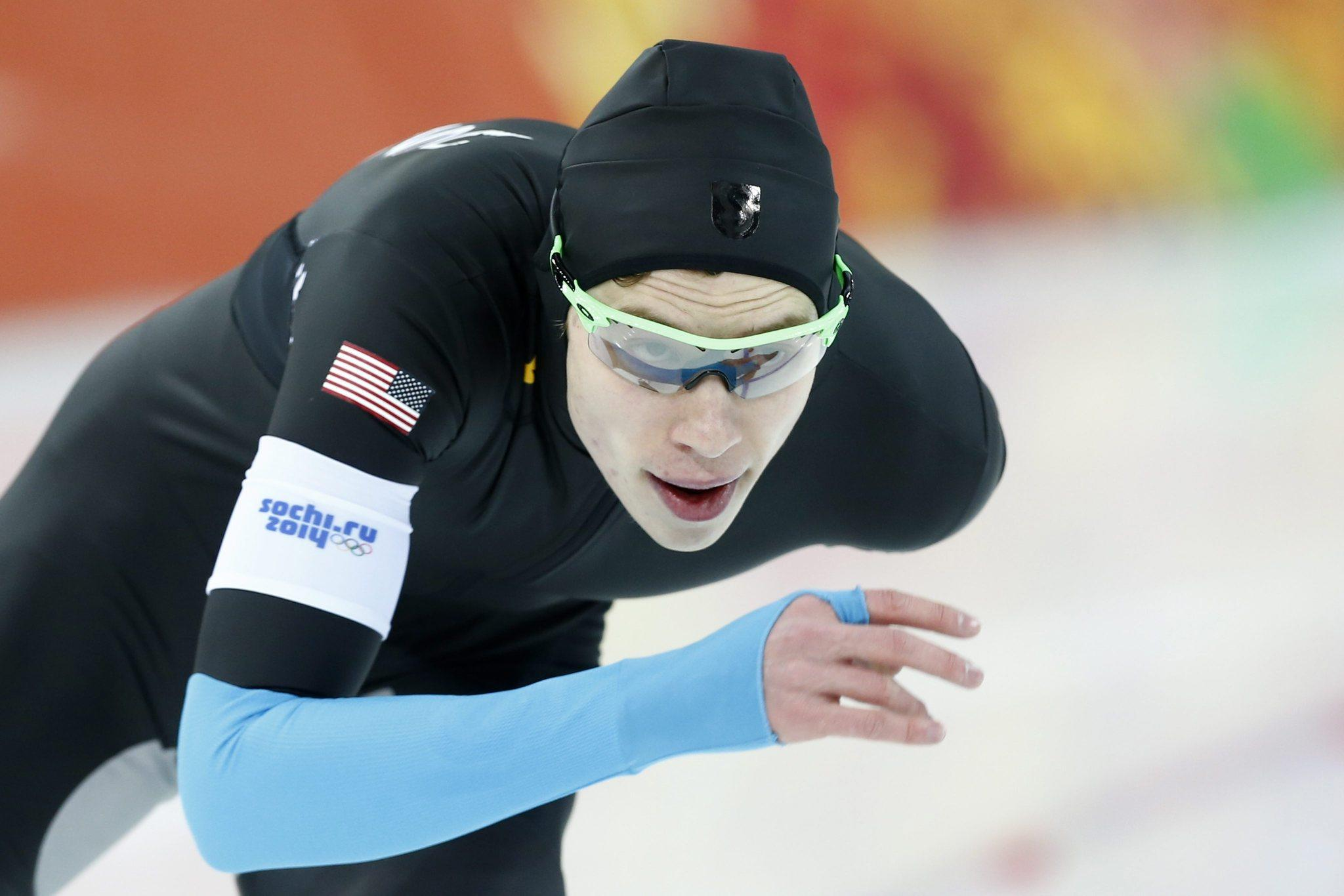 Brian Hansen during the 1,500-meter race in the Adler Arena at Sochi.