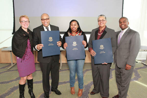From left to right: Leia Bell, MCC dean of Institutional Advancement; Dr. Aaron Lewis, state representative; Shaquana Johnson, MCC student; Dr. Deborah Simmons, MCC professor; and G. Duncan Harris, MCC dean of Student Affairs.