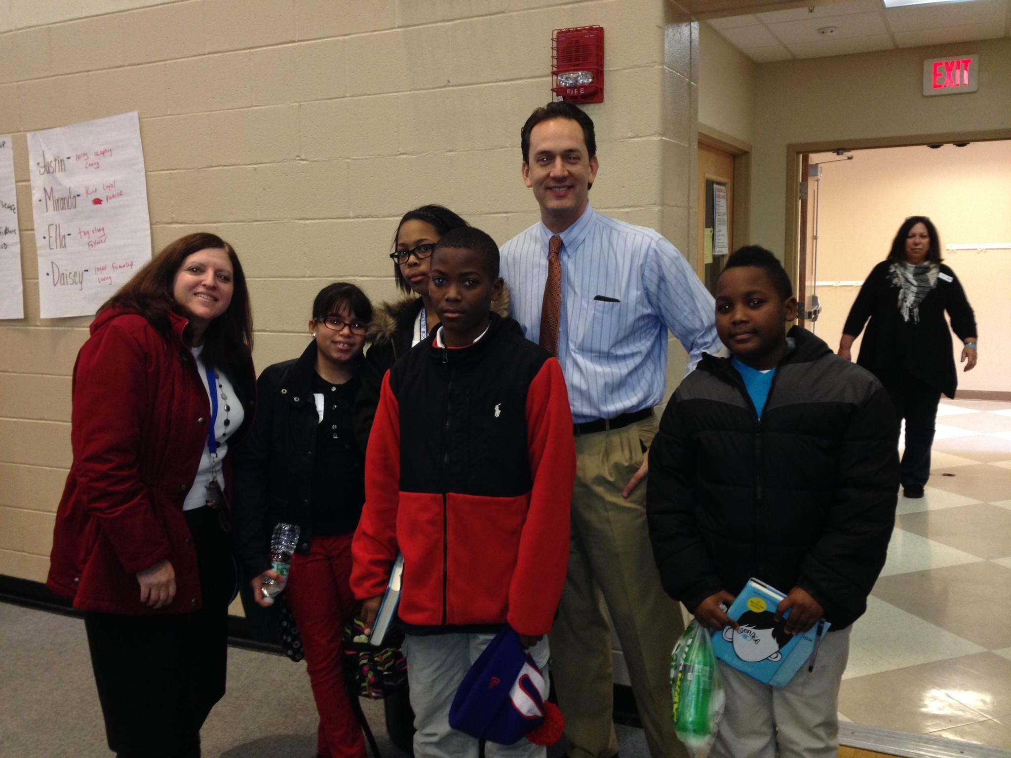 In the photo with NBC Connecticut's Brad Drazen are from left to right: Joanne Shulman and students Elicia Colon, Zoe Morris, Michael Collins, Jr. and Luke McLean.