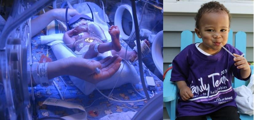 Deven pictured in the NICU, Devin in his March for Babies t-shirt in 2013. Photos provided by Williams family.