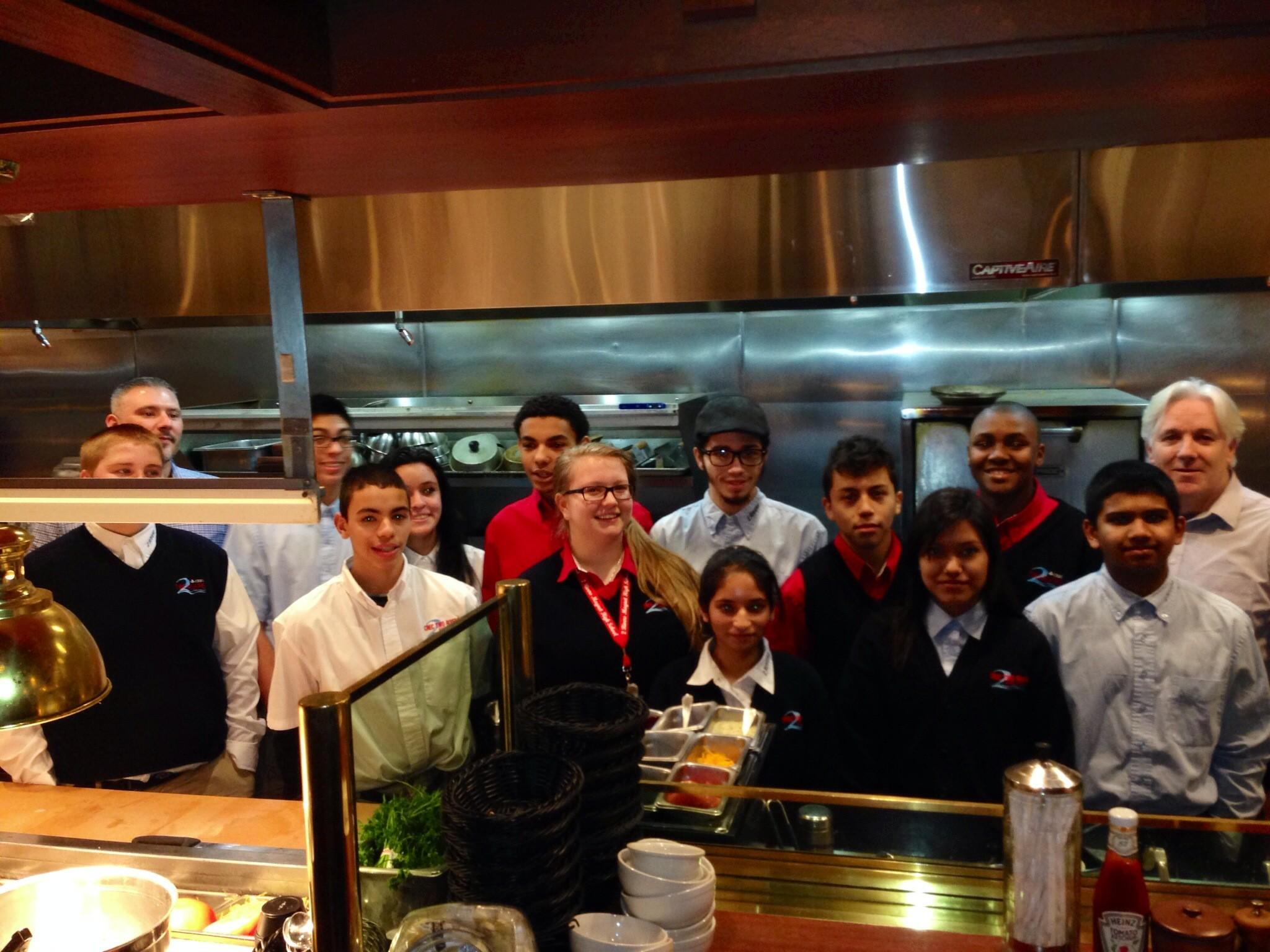 Students from the CREC Two Rivers Magnet High School visit Ted's Montana Grill in South Windsor to learn about the company's history of environmentalism.