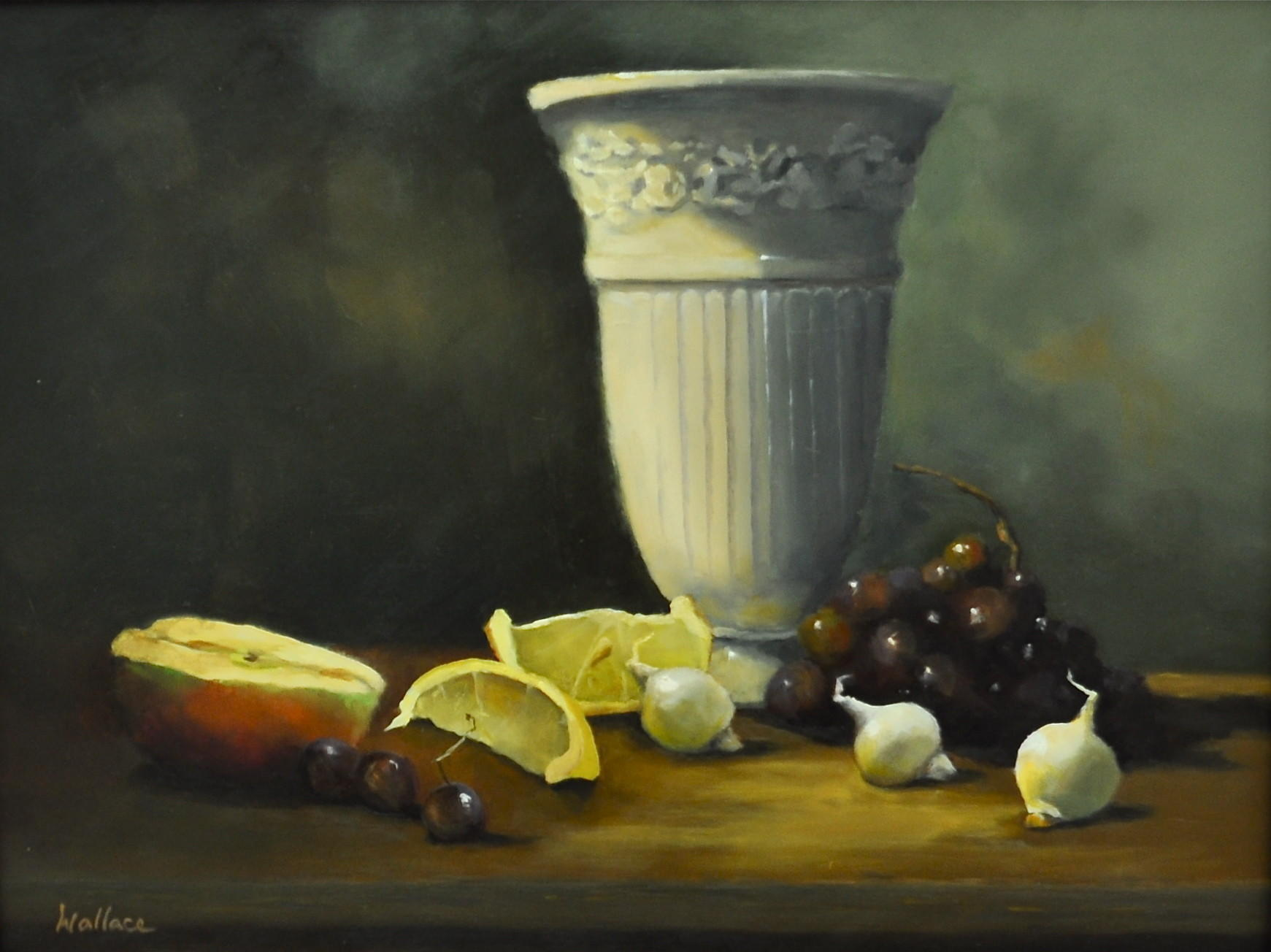 Joan Wallace, Still Life with White Vase, oil, 12 x 16.