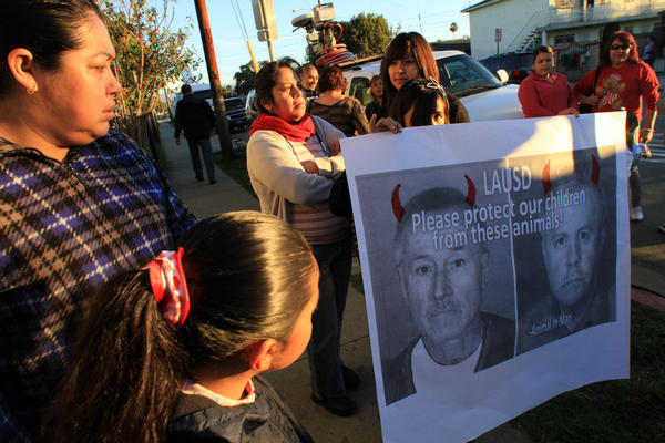 Protest against fired Miramonte teachers Mark Berndt and Martin Springer