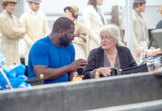 "Director Steve McQueen and costume designer Patricia Norris on the set of the movie ""12 Years a Slave."""