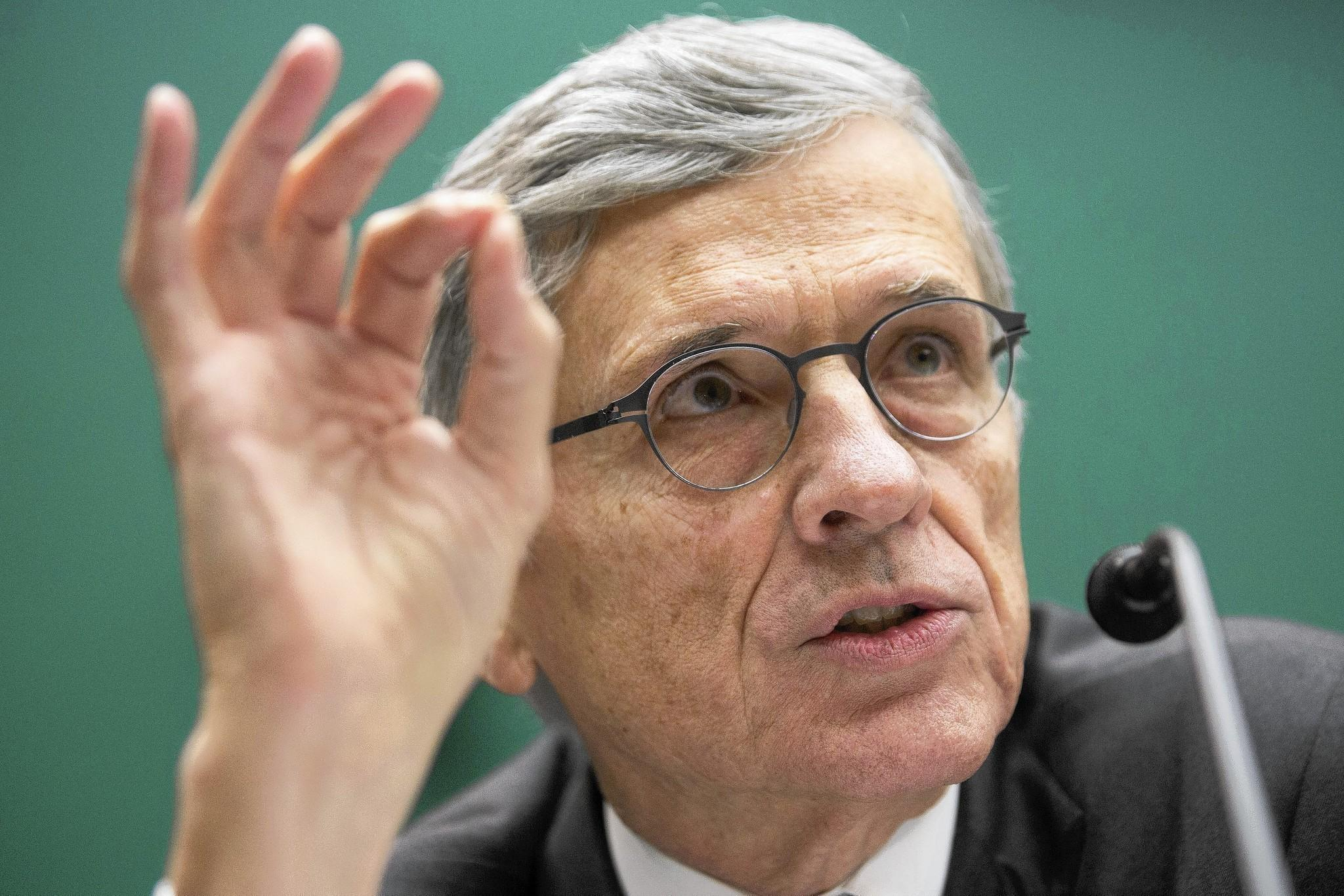 "Thomas ""Tom"" Wheeler, chairman of the Federal Communications Commission (FCC), speaks during a hearing in Washington, D.C."