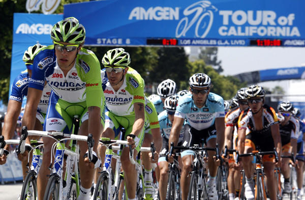 Competitors make their way along Figueroa Street near Staples Center last year during the final leg of the Amgen Tour of California.