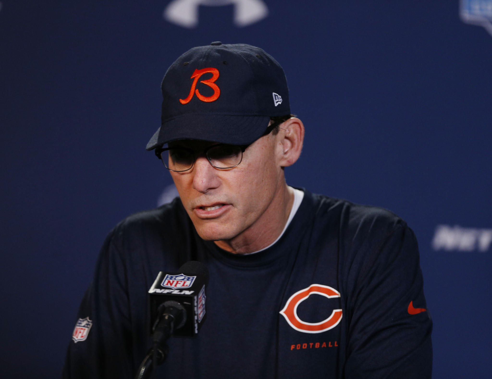 Bears coach Marc Trestman speaks during a press conference during the 2014 NFL Combine at Lucas Oil Stadium.
