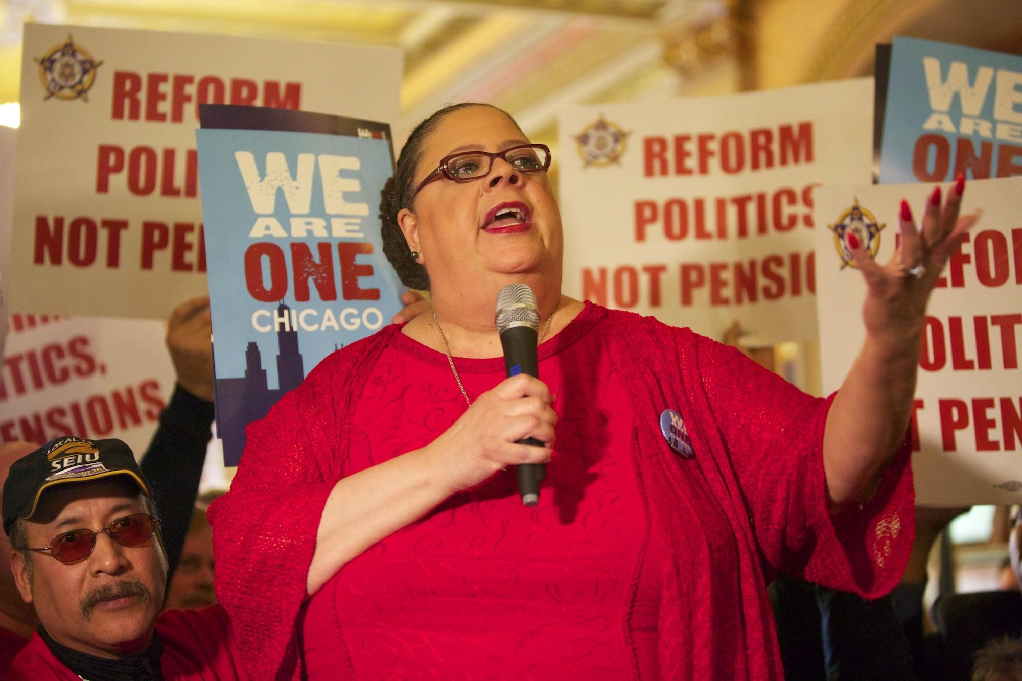 Chicago Teachers Union President Karen Lewis speaks to a crowd of union supporters during a rally on Feb. 19 at the Illinois State Capitol in Springfield, Illinois.