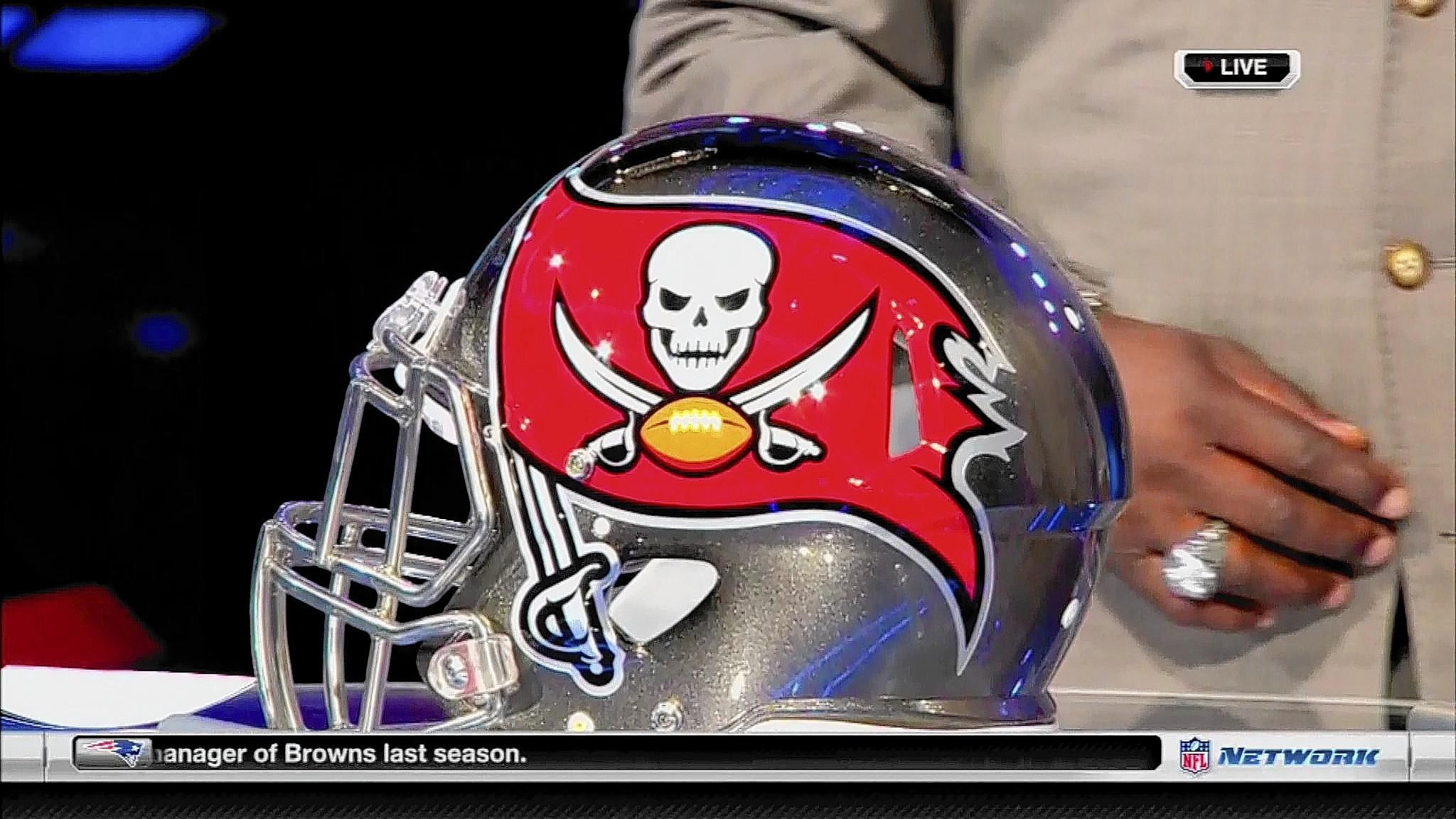The new Bucs helmet is shown Thursday night on NFL Network. It features a larger, bolder pirate flag logo and a chrome facemask.