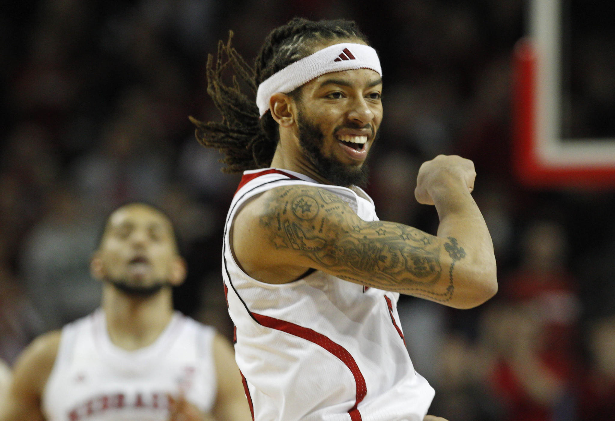 Nebraska's Terran Petteway celebrates during the game against Penn State in the second half at Pinnacle Bank Arena. Nebraska won 80-67.