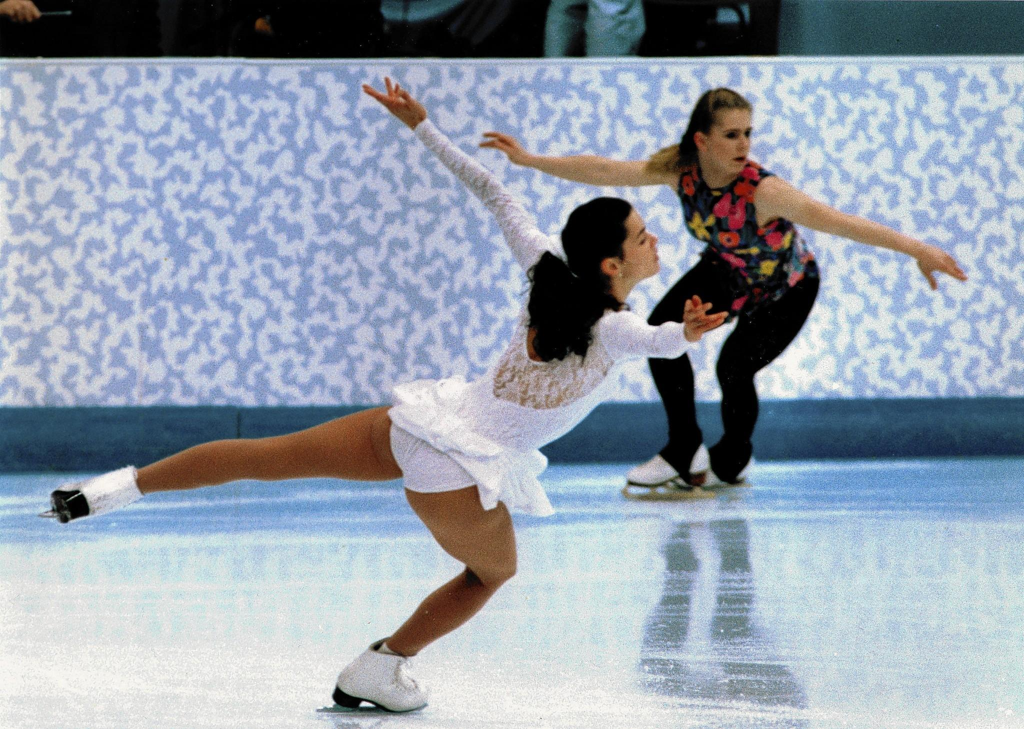 U.S. skaters Nancy Kerrigan, left, and Tonya Harding practice at the 1994 Lillehammer Olympics in Norway. Kerrigan went on to win the silver medal while Harding, who became infamous after her ex-husband and bodyguard plotted an attack on her rival, won mainly ridicule.