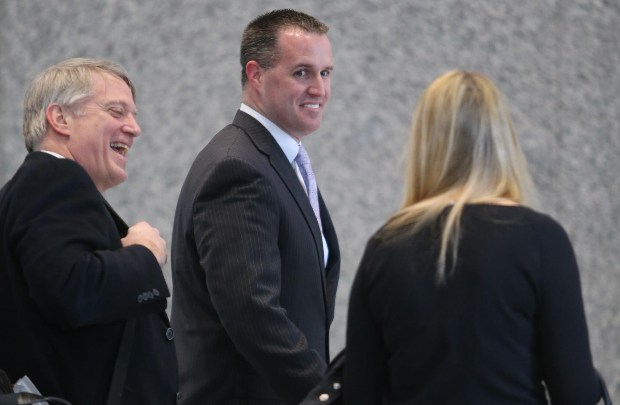 Northwestern University head football coach Pat Fitzgerald arrives at the Dirksen U.S. courthouse today to testify at the National Labor Relations Board hearing.