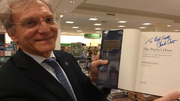 Fort Lauderdale lawyer & major national Democratic fundraiser bought 10 copies of Charlie Crist's book at Barnes & Noble in Fort Lauderdale on Feb. 20, 2014. He had Crist sign this one to Rick Scott. (Photo by Anthony Man)