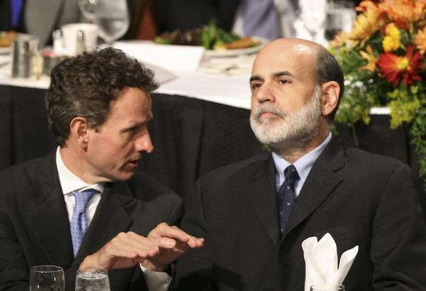 Timothy F. Geithner and Ben S. Bernanke.