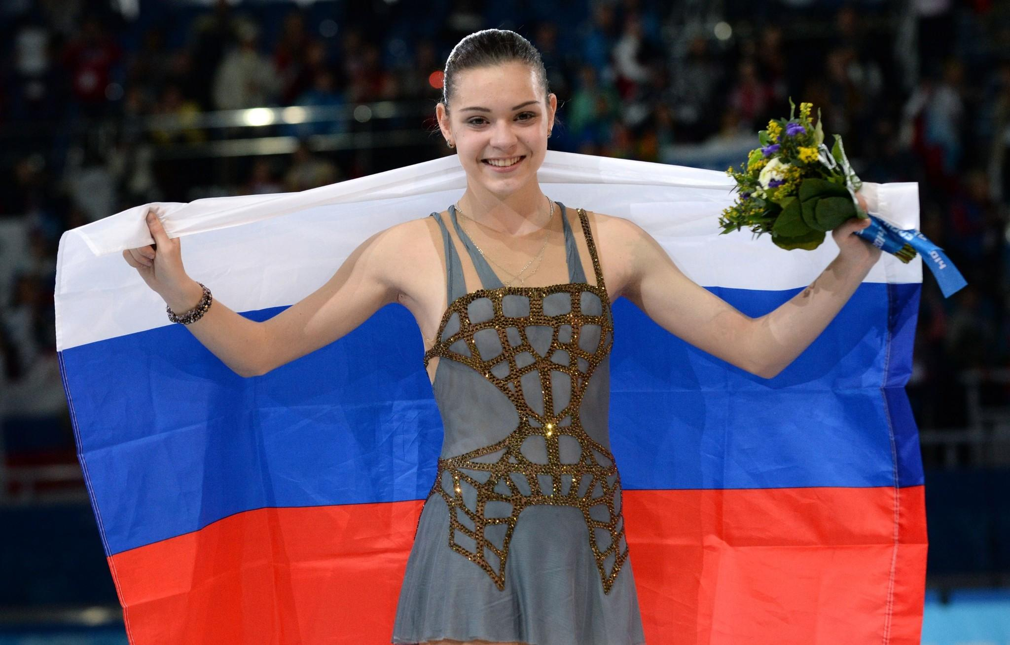 Russia's gold medalist Adelina Sotnikova celebrates Thursday.
