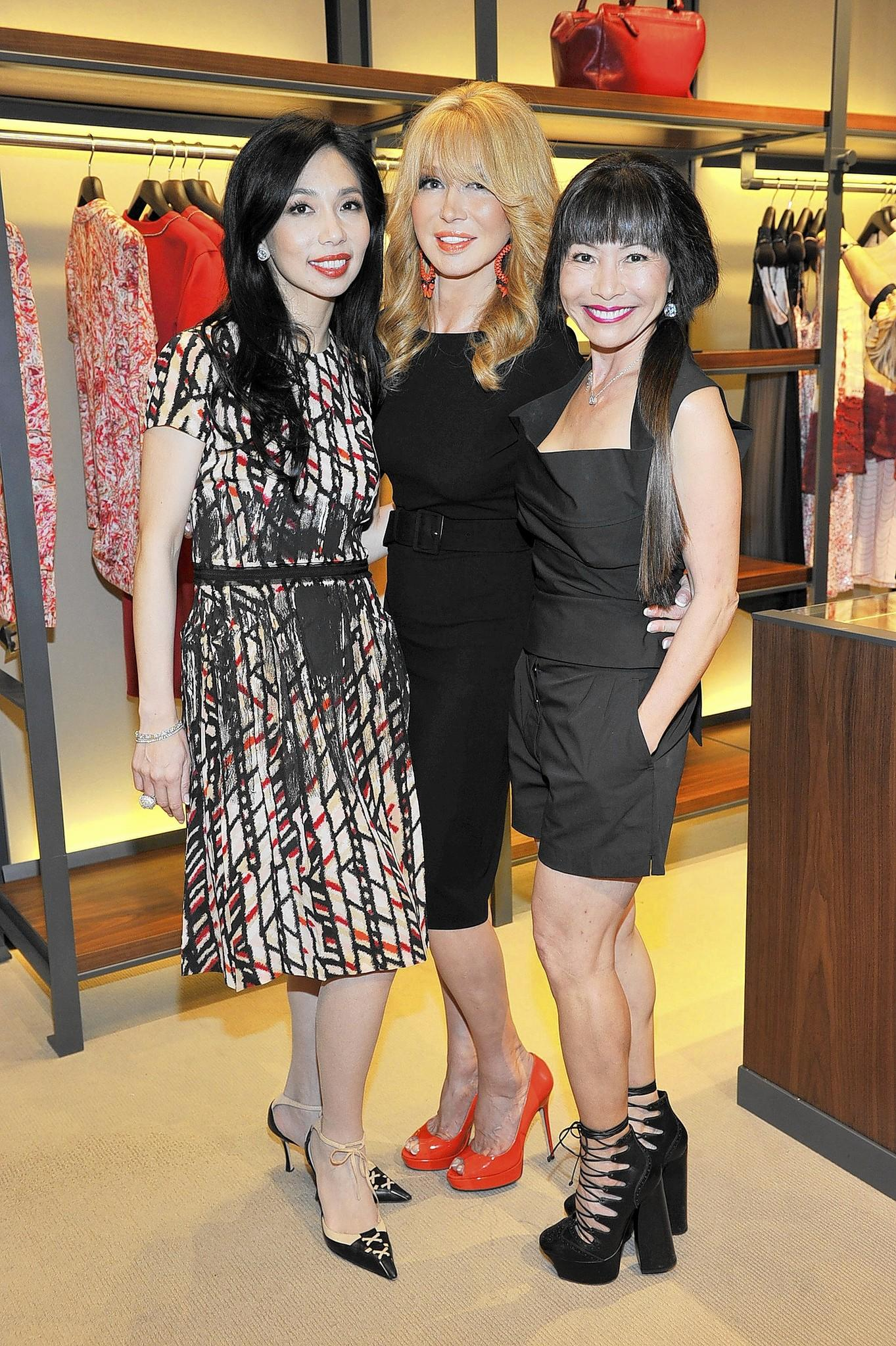 Co-chairs of the Bottega Veneta Spring launch: Elizabeth An, Elizabeth Segerstrom and Keiko Sakamoto Witte.