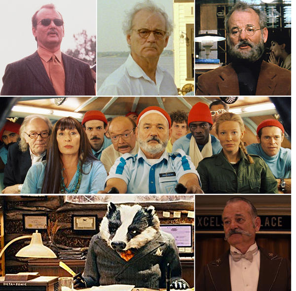 A collage of actor Bill Murray in various Wes Anderson films.