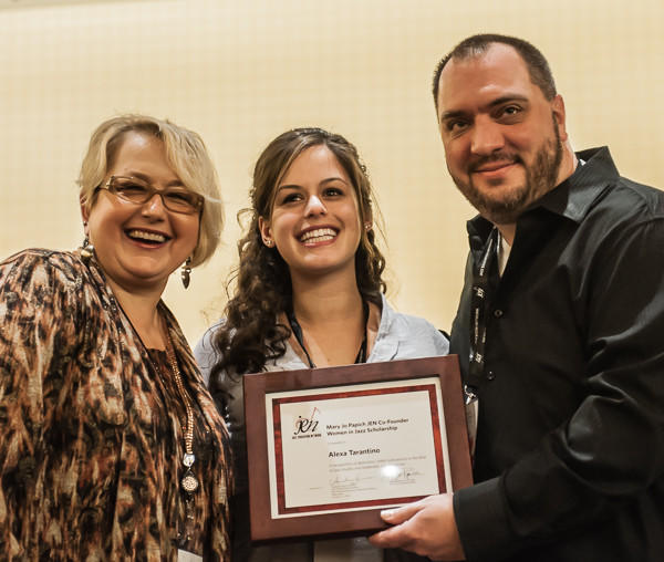 From left to right: Mary Jo Papich, co-founder of the Jazz Education Network; scholarship recipient Alexa Tarantino; and Caleb Chapman, member of the JEN Board of Directors.
