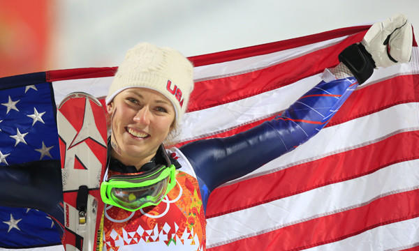 American Mikaela Shiffrin celebrates after winning the women's slalom at the Sochi Winter Olympic Games on Friday.