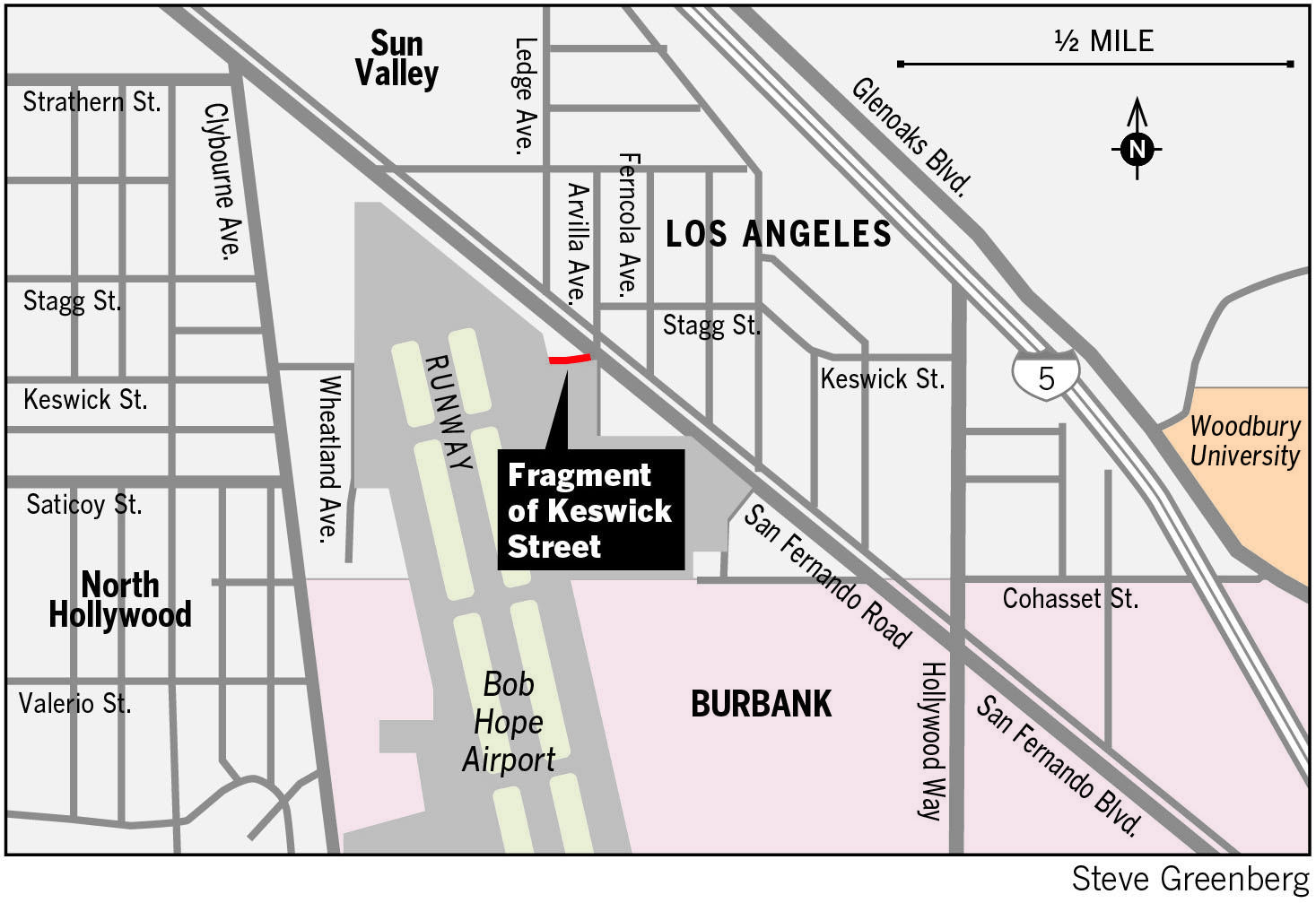 A section of Keswick Street that Bob Hope Airport officials bought in the late 1980s will finally no longer be a public street.