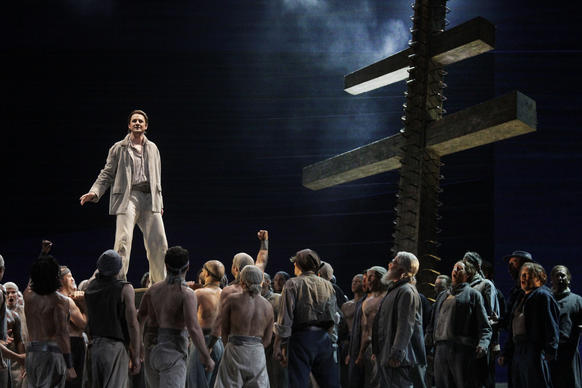 "Liam Bonner as Billy Budd with the cast L.A. Opera's production ""Billy Budd"" at the Dorothy Chandler Pavilion in Los Angeles."