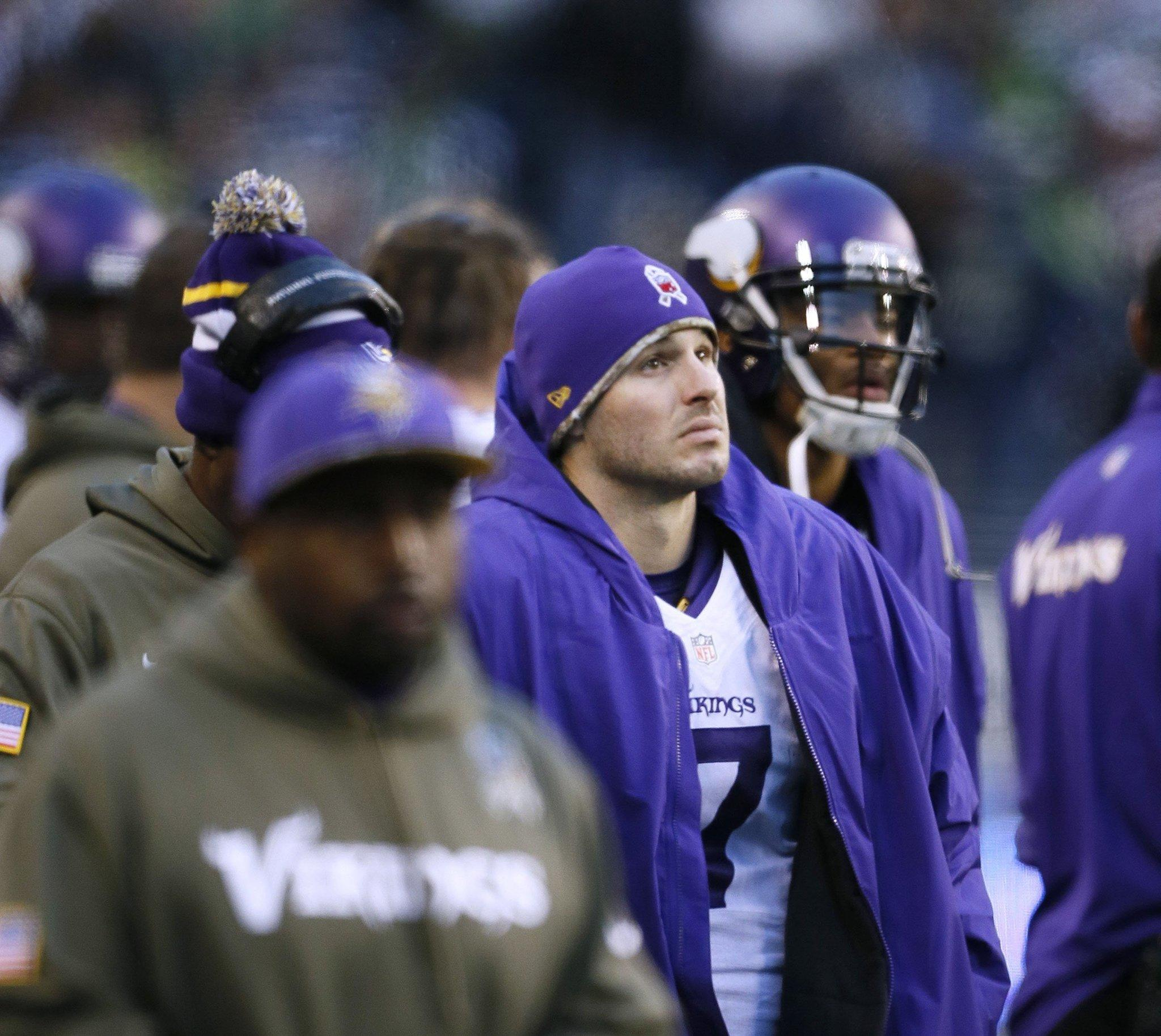 Christian Ponder (7) of the Minnesota Vikings was pulled from the game after throwing interceptions in the fourth quarter against the Seattle Seahawks at CenturyLink Field in Seattle on Sunday, Nov. 17, 2013.