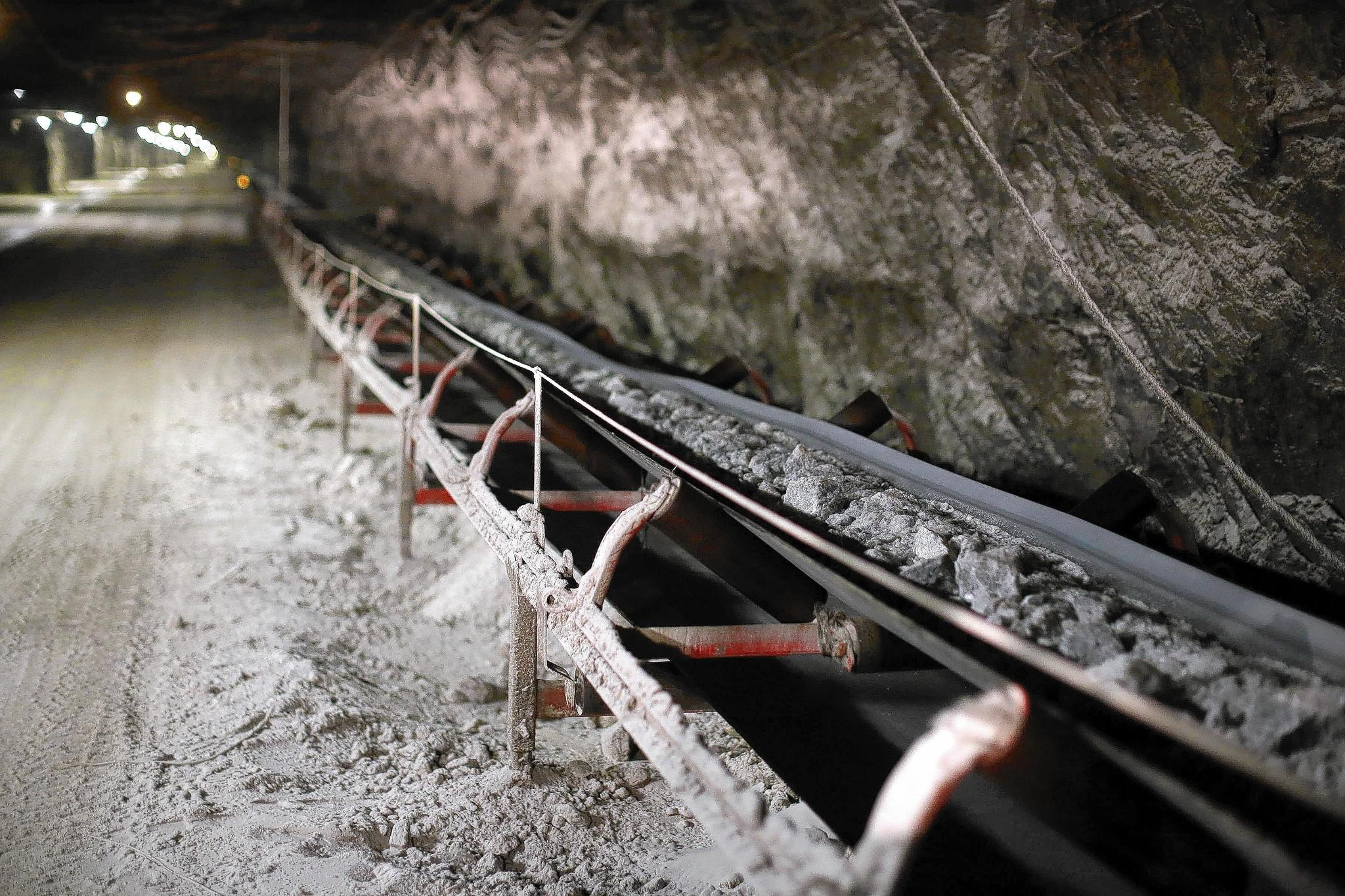 A conveyor transports salt at the Hutchinson Salt Mine in Kansas.