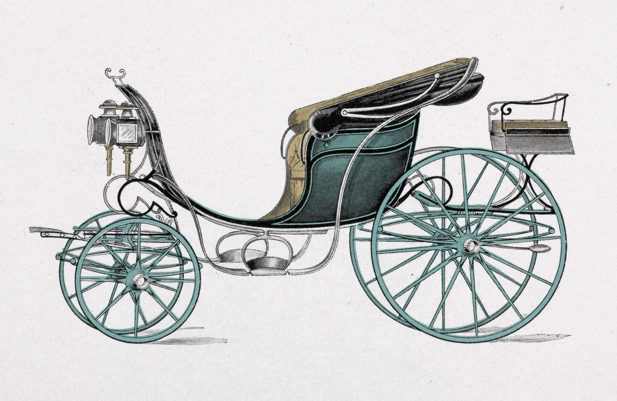 A phaeton was a was a carriage with or without a cloth canopy. This one is from 1906.