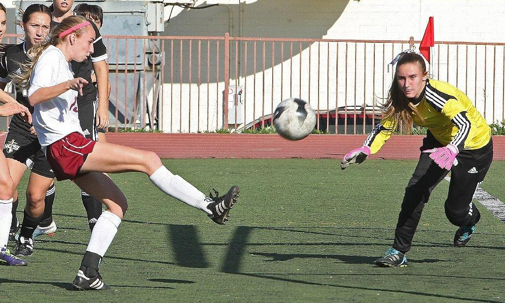 Katherine Sheehy scores the first goal of La Canada's 4-0 win on Friday.