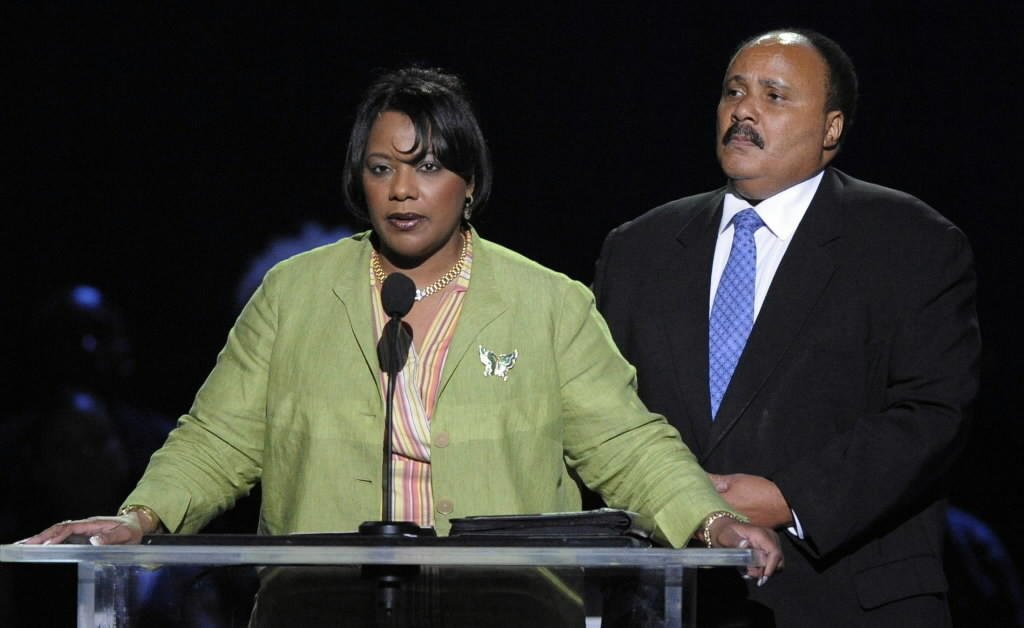 Bernice King and Martin Luther King III speak during a memorial service for Michael Jackson in 2009.