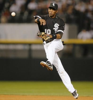 """<a class=""""taxInlineTagLink"""" id=""""PESPT006754"""" title=""""Alexei Ramirez"""" href=""""/topic/sports/baseball/alexei-ramirez-PESPT006754.topic"""">Alexei Ramirez</a> throws to first base but Seattle's <a class=""""taxInlineTagLink"""" id=""""PESPT007159"""" title=""""Ichiro Suzuki"""" href=""""/topic/sports/baseball/ichiro-suzuki-PESPT007159.topic"""">Ichiro Suzuki</a> was safe with an infield single in the fifth inning."""