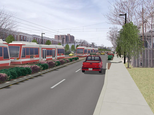 A rendering of the Red Line along Edmondson Avenue. It would run from western Baltimore County to East Baltimore.