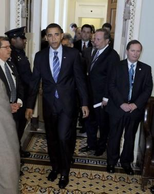 President-elect Barack Obama, accompanied by National Economic Council Director-designate Lawrence Summer