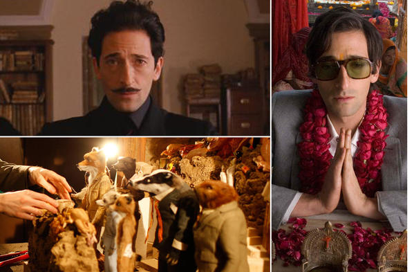 A collage of actor Adrien Brody in various Wes Anderson films.
