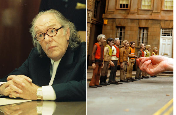 A collage of actor Michael Gambon in various Wes Anderson films.