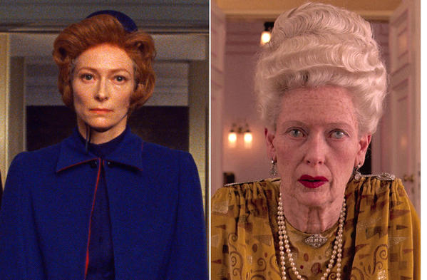 A collage of actress Tilda Swinton in various Wes Anderson films.