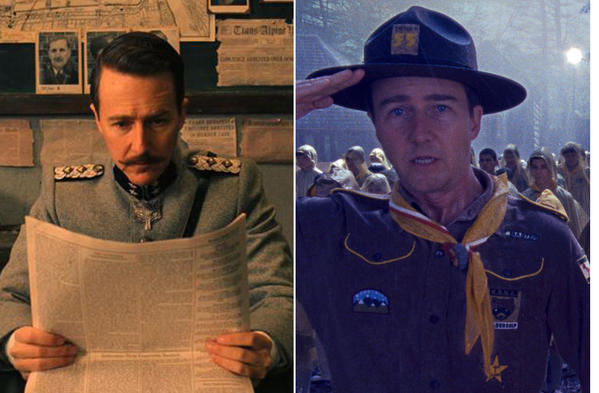 A collage of actor Edward Norton in various Wes Anderson films.