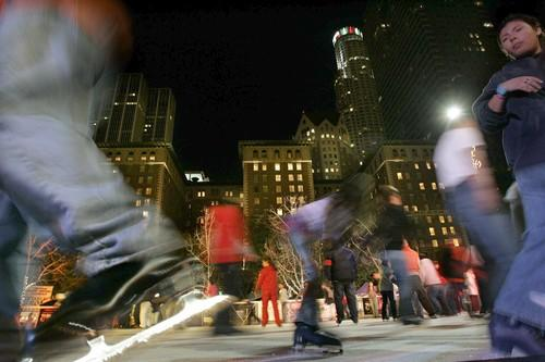 The ice rink in Pershing Square gave skaters a little taste of big-city winter.