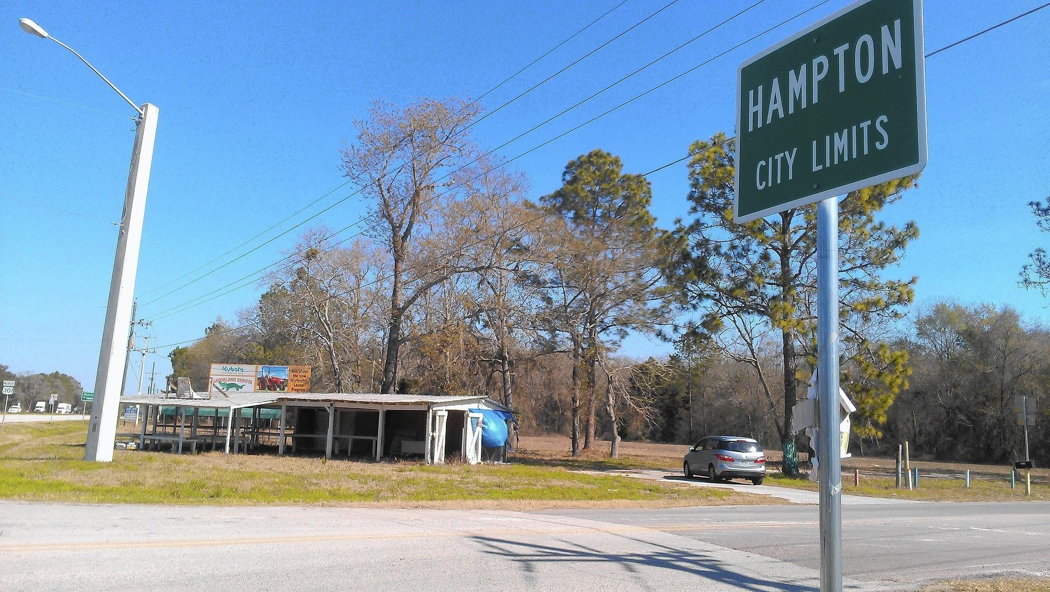 City limits sign of Hampton, the north Florida town that the Legislature is planning to dissolve this spring