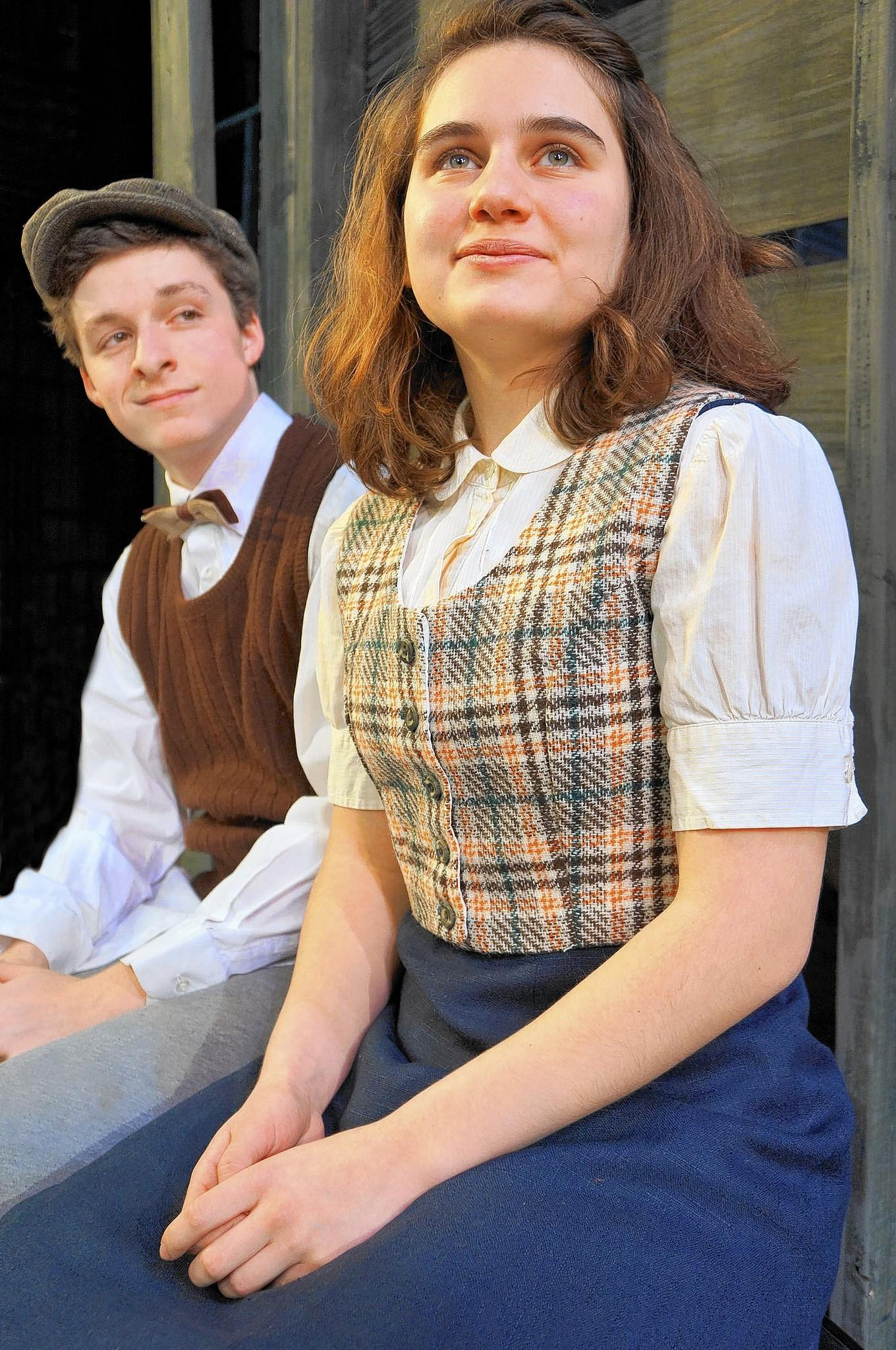Anne Frank (Emma Santschi) shares her innermost dreams with fellow attic occupant, Peter (Louis Jannuzzi III) in the Act 1 production of 'The Diary of Anne Frank,' Feb. 19-March 2 at the Labuda Center at DeSales University.