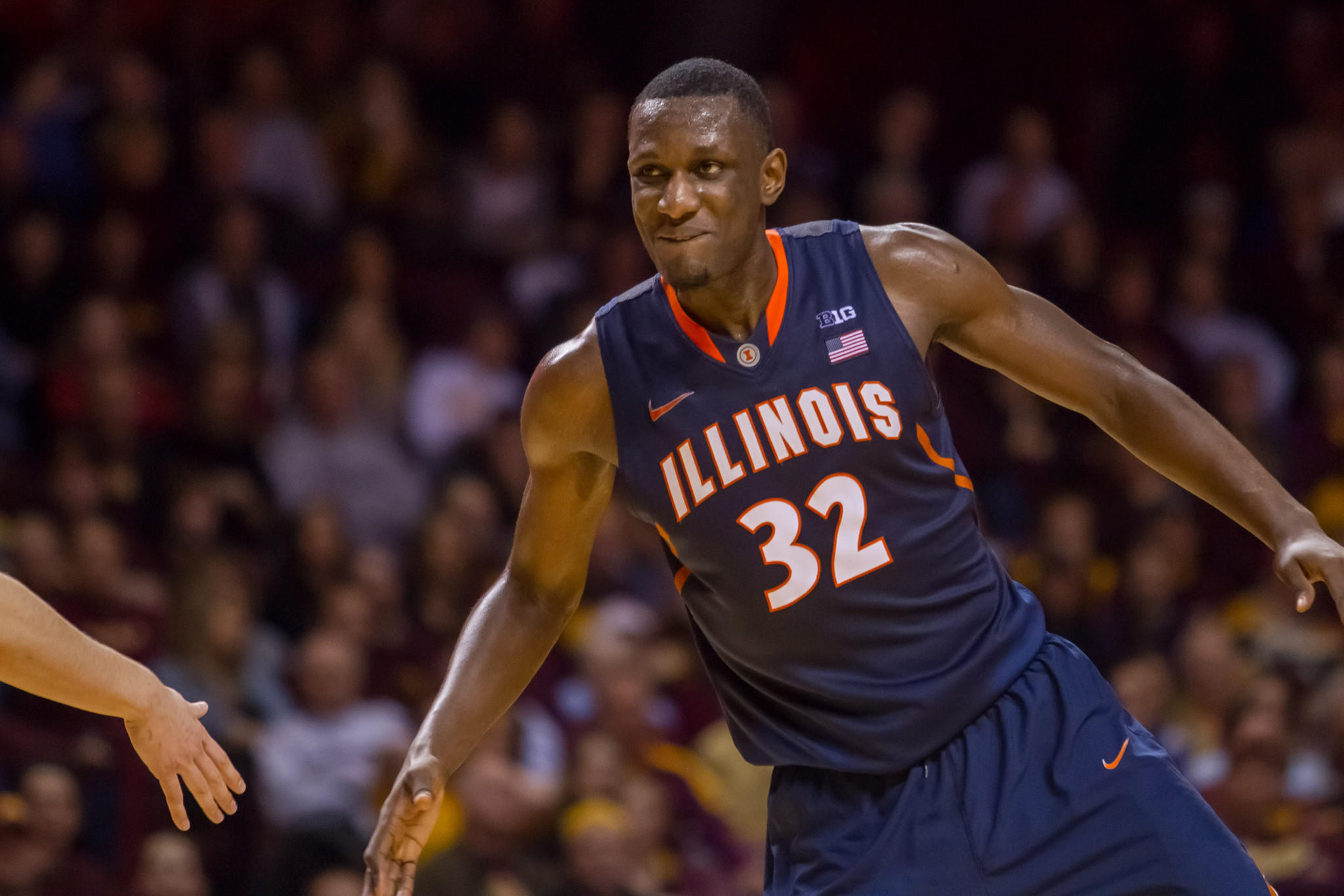 Illinois Fighting Illini forward Nnanna Egwu (32) celebrates after a basket in the second half against the Minnesota Gophers at Williams Arena. Illinois wins 62-49.