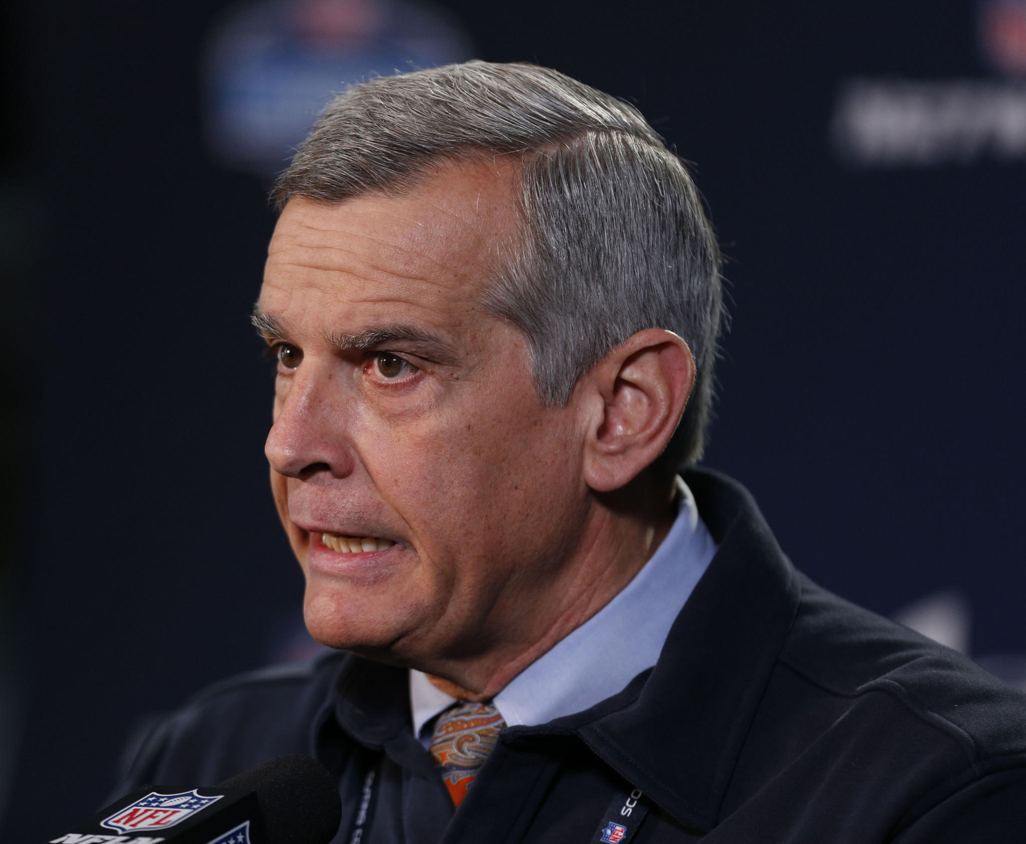 Chicago Bears general manager Phil Emery speaks during a press conference during the 2014 NFL Combine at Lucas Oil Stadium.