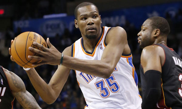 Oklahoma City Thunder forward Kevin Durant drives to the basket during a loss to the Miami Heat on Thursday. Durant and the Thunder play host to the Clippers on Sunday.