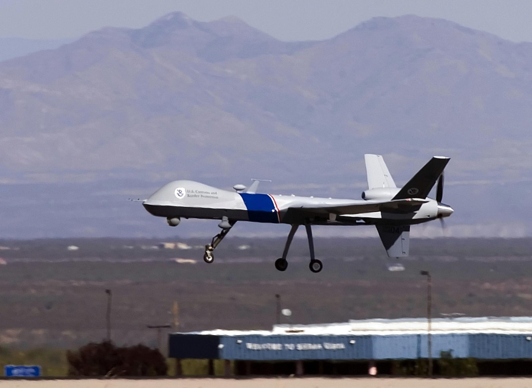 The MQ-9 Predator B, an unmanned surveillance aircraft system, unveiled by the U.S. Customs and Border Protection, takes off at Libby Army Airfield at Ft. Huachuca in Sierra Vista, Ariz. CBP will use the MQ-9 Predator aircraft to patrol the southern border of the United Sates in order to stop the illegal entry of thousands of Mexican nationals and drug runners who use the vast expanses of the Sonoran Desert to cross into southern Arizona, daily.